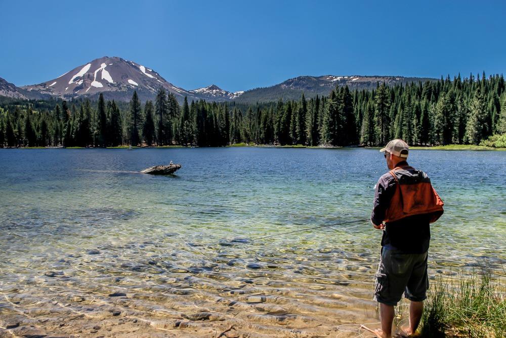 Fisherman looking at Lassen Peak