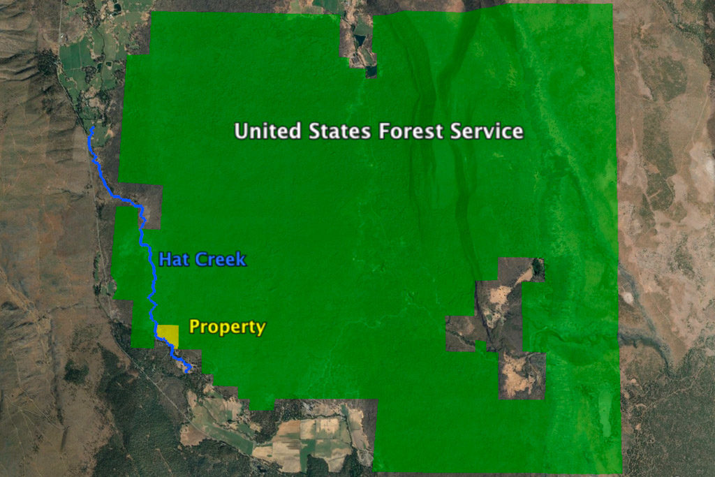 Hat creek property adjacent to public National Forest Service land