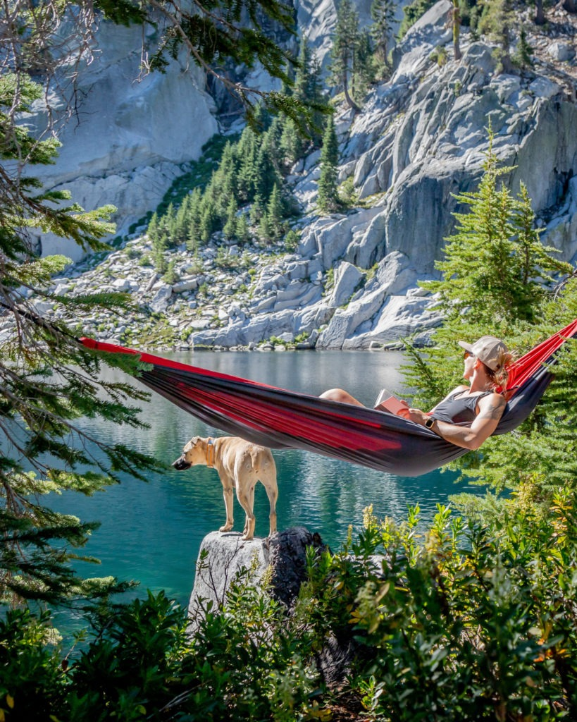 Trinity Alps fly fishing and hiking for brook trout, hammock